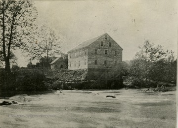 A view of Jackson's Mill beyond the river.