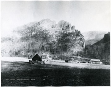 'This is Seneca Rocks in the background with Middle rock which fell some years back. Leonard and Phebe Hinkle Harper lived in this home for 4 years.  They were married in 1816.'