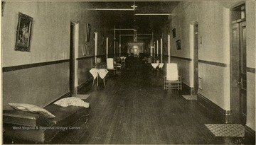 An interior view of ward 'A' in the Second Hospital for the Insane.