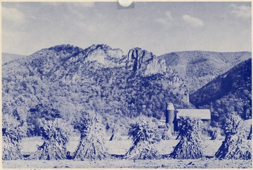 'A typical West Virginia farm scene with majestic Seneca Rocks in the background. Located on U.S. Route No. 33 in Pendleton County.'