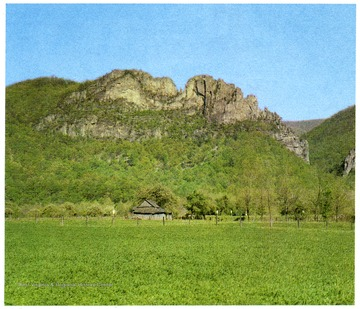 'A towering castle of quartzite, Seneca Rocks rise majestically above the meadows of Pendleton County.'
