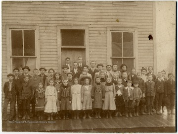 Students and teachers in front of School in Montrose, W. Va.