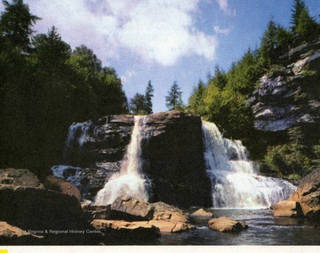'Near Davis, highest incorporated town in the East, is beautiful Blackwater Falls.'