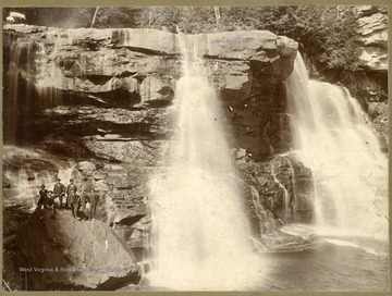 There is a group of men in suits standing on a rock beside the falls.