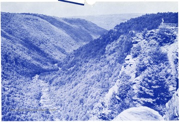 The Canyon is over 1,000 feet deep.  'Emmett Carmichael, Agent, Wellsburg, W.Va.'
