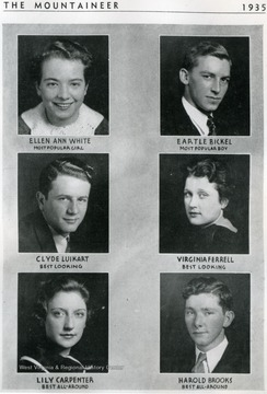Students pictured are as follows:  'Ellen Ann White, Eartle Bickel, Clyde Luikart, Virginia Ferrell, Lily Carpenter and Harold Brooks.'
