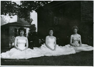 Pictured left to right; Aimee Smith-Maid of Honor, Joyce Rodenheaver-Queen of May and Barbara Peterson-Maid of Honor.