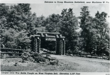 A photograph postcard of the entrance to Droop Mountain Battlefield near Marlinton, Pocahontas County, West Virginia.