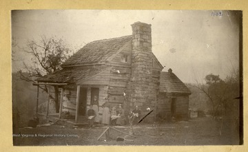 'The old Summers Home at Marquess, Preston County, West Virginia. 'Brother and sister, William Caleb Summers, back, Sarah E. Summers, Bower Fannie Summers, Maud Bower, Ira Summers, and William Bower.'