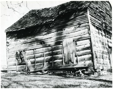 'The Mt. Tabor Baptist Church at Laurel Point on the Old Fishing Creek Road to Richmond.  Built in early 1800's.  Holes near the roof made to watch out for indians.'