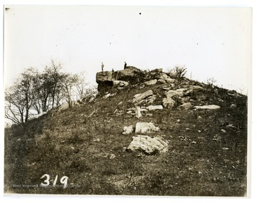 'View of Dorsey's Knob. The Indian graves were opened by the late Hu Maxwell, in which were found a few bows. This information was obtained from C.H. Maxwell by R.A. West, may 26. 1935.'
