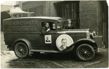 "Republican Campaign Truck for Hoover and Shott. The truck reads 'Hugh Ike Shott Republican candidate for congress,' ""there is no substitute for experience,' and 'never sacrifices stability for expediency.'"
