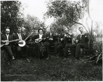 Left to right:  Jacob Looser, Ernest Burky, Olga Aegerter, Fred Burky, Jr., Paul Aegerter, Fred Burky, Jr.