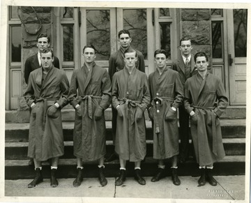 Group portrait of the West Virginia University Boxing Team, taken on March 17, 1932 in front of Reynolds Hall.