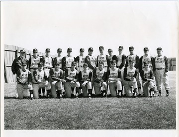 '1967 West Virginia University Baseball Team. Southern Conference Champions. Front row, from left. Tom Tomechko, Mike Moschel, Chuck Boggs-captain, Chuck Guth, Denny Taylor, Bob Beahm, Jim Clay, Jerry Meadows, Ron Fiochetta. Back row, A.C. 'Whitey' Gwynne-trainer, Tom Parke, Tom Little, Ted Semenik, Bob Reed, Bob Tompkins, John Simpson, Jim Miller, Joe Baca, Tom Brand, John Piscorik, Terry Mance, Coach Steve Harrick.'