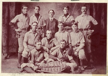 'The baseball team of the West Virginia University of 1900 was the best nine that has has ever represented this institution. W.V.U. claims the college championship of Ohio, West Virginia and Western Pennsylvania. The team lost but two games to college teams, and one to professionals. It was composed of the following men: Peck-Catcher, Bowman-Pitcher, Miller-First Base, Crossland-Second Base, McWhorter-Third Base, Deming-Short Stop and Left Field, Prints-Center Field, Hodges-Right Field, Yeager, Brown, Neale, McGregor-Substitutes.'