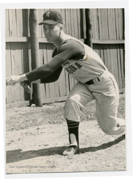 Portrait of John 'Lefty' Radosevich, pitcher of the West Virginia University Baseball Team.