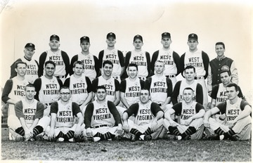 First row, left to right- Jerry Milliken, Phil Douglas, captain Dale Ramsburg, Ron Renner, Jeff O'Neil, Grant Mullen.  Second row- Chester Wright, Chuck Kinder, Mike Dyer, Bob Munchin, Bill Marovic, Vaughn Kovach, Joe DeFazio, Larry Sindelar.  Third row-  Coach Steve Harrick, John Nieman, John Radosevich, Don Hetzel, Charles Wallace, John Ellis, Steve Berzansky, Manager John Satterfield.
