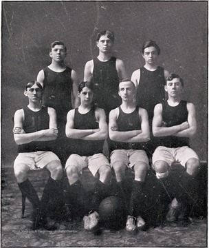 James H. Riddle, Captain; Beryl Crowl, Manager; Grigg- forward, Riddle- forward, Gaskins- center, Crowl- guard, Tobin- guard.  Substitutes- Naylor, Pritchard and T. Starbuck.  1908 Season