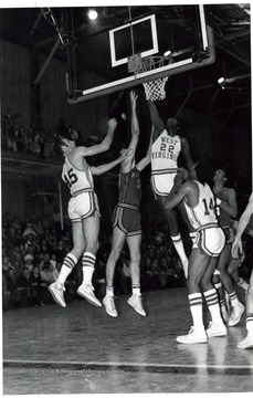 Players Dick Symons (#45), Mike Truell (#22) and Will Robinson (#14) vs. Maryland.