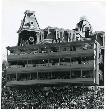 A larger, three tier press box was constructed years after the stadium was built. To stabilize the press box it had to be attached to Woodburn Hall.