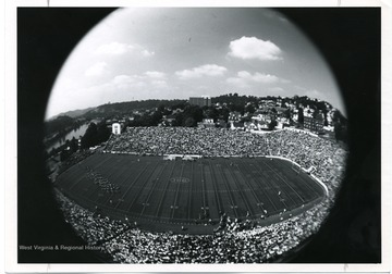 West Virginia University Mountaineer football game photograph taken from the Press Box.
