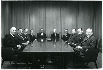 'From left to right:  Doug Bowers, Salvati, unknown, unknown, Paul Miller, Okey Glenn, unknown, Kirkpatrick, William Thompson.'