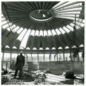 Interior of the coliseum during construction.