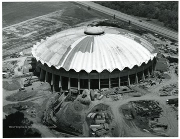Aerial view of the coliseum construction.