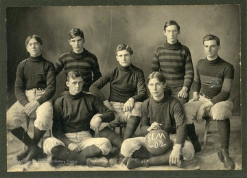 Basketball Team of West Virginia Conference Seminary, Buckhannon, W. Va.  The school was founded in 1890 by the Methodist church, and assumed its current name of West Virginia Wesleyan College in 1906.