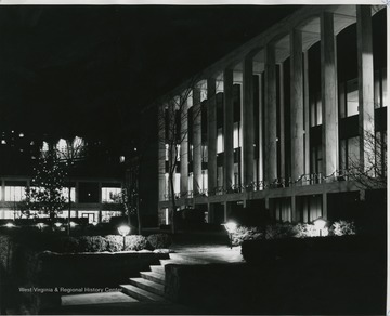 Front view of Mountainlair at night.