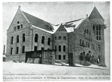 Exterior view of the West Virginia University Library during construction, cost of the building $105,000. The Library was once housed in the building which is currently Stewart Hall.