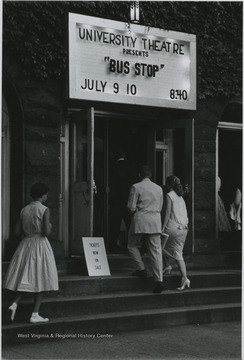 """University Theatre Presents 'Bus Stop' July 9-10, 8:40."""