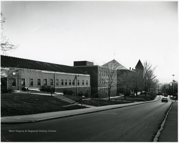 'Left to right: Cafeteria, Health Center, Reynolds Hall, Administration (old library).'