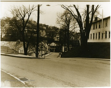 "The old Mountainlair is on the left and the ""Writing Lab"" or Olgebay Annex is on the right."