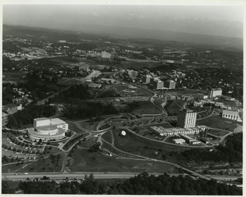 Creative Arts Center, Engineering, and Towers Residence Halls visible in photo.