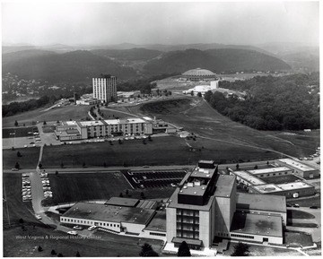 Allen and Percival Halls; Agricultural Engineering and Agricultural Sciences Buildings; Engineering Building; Creative Arts Center; Coliseum all visible.
