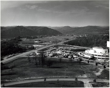 Creative Arts Center on right.  Baseball field on left.  Prior to construction of Coliseum.