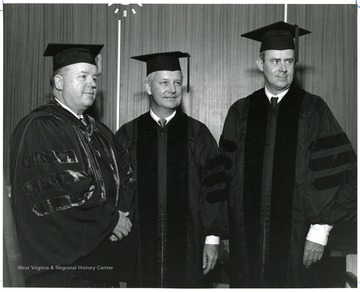 Left to right: President James G. Harlow, Governor Arch Moore, and Cyrus R. Vance.