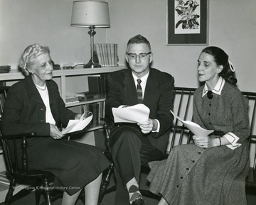 Left to right, Beatrice Hurst, Associate Professor Physical Education; Pete Yost, and Wincie Carruth.