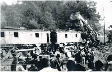 Train collision occurred six miles east of Princeton, Mercer County, at about noon on May 24, 1927.  'Two trainmen were killed and about twenty people were injured.  The accident occurred fourteen cars west of the first tunnel at Ingleside when Virginian Railway (now Norfolk Southern) westbound passenger train No. 3, the steam locomotive, met head-on with one of the huge eastbound electric motors hauling about 100 loaded coal cars downgrade, pushing No. 3 back down the grade a distance of 270 feet.  The passenger locomotive climbed on top of the electric motor.  The Virginian had been electrified from Mullens, W.Va. to Roanoke, Va. in 1925-1926.'