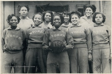 Group portrait of the girl's basketball team at African-American school, Storer College.