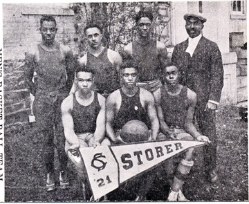 Group portrait of the basketball team at Storer College, a school for African-Americans.