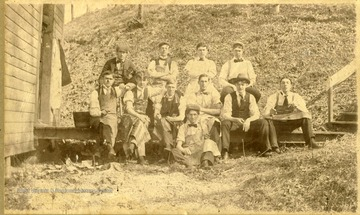 Students in a WVU medical class of 1896-1897 appropriately attired with long aprons pose outside of the Hick House for cadaver dissection.