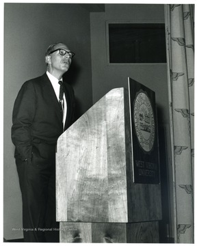 'Famed CBS correspondent Richard C. Hottelet is shown speaking at a Mar. 13, 1967 International Emphasis Series program.'