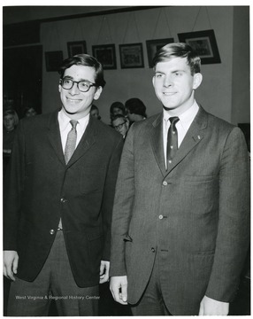 Majority Leader ( All Campus), Ron Rage, left with Dave Hardesty, right, Student Body President 1966-1967, at time Minority Leader (Student Party) in Legislature.