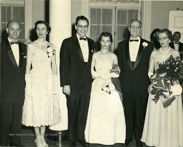At a president's Stewart reception, from left to right: Mr. and Mrs. John D. Hoblitzell; Gov. and Mrs. Cecil B. Underwood; Dr. and Mrs. Irvin Stewart.