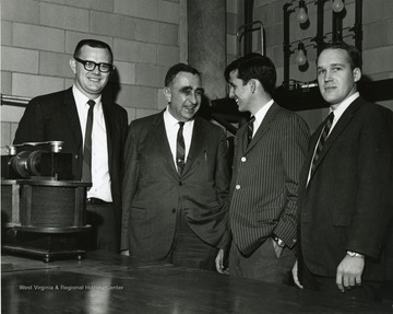 'Legendary Father of the H-Bomb Edward Teller chats with students during his appearance here during the Oct. 5-7, 1967 Science-Writing symposium.'