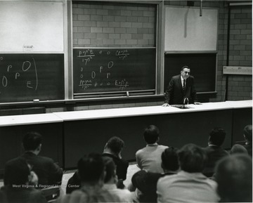 'Dr. Edward Teller, professor of physics-at-large at the University of California and the renowned 'Father of the H-Bomb,' is shown speaking at the Science-Writing Symposium Oct. 5, 1967.'