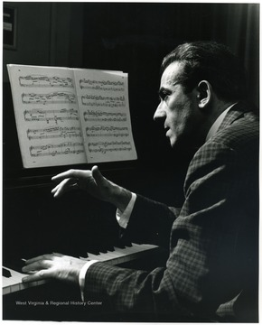 'WVU pianist Herman Godes performed with the Philharmonia Hungaria at a Mar. 17, 1967 concert during the 100th Anniversary year.'